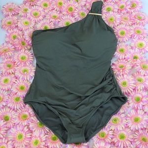Michael Kors NWT One Shoulder Ivy Maillot Swimsuit